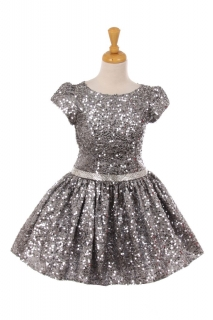 Silver Sequin Holiday Dress for Girls