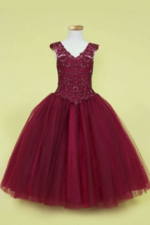 2018 Pageant Dress Style SY119 Burgundy