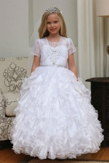 2018 Communion Dress Style DR5237 White Beaded Organza Ruffle Dress
