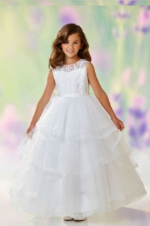 2018 Communion Dress Style 118310 White Cap Sleeve Lace Bodice and Organza