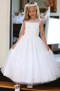 2018 Communion Dress Style DR5205 White Lace and Beaded