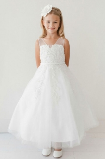 2018 Communion Dress Style 5719 Organza Dress White
