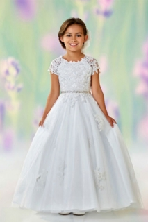 2018 Communion Dress Style 118326 White Short Sleeve Lace