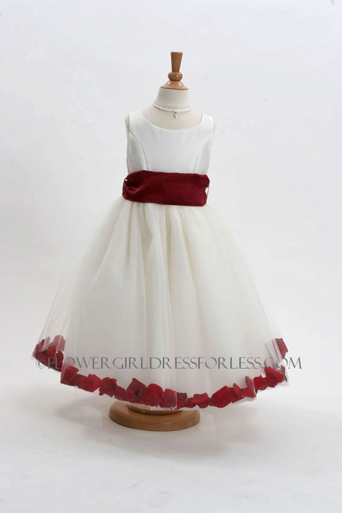 5adff96b1 MB_152IBUR - Flower Girl Dress Style 152-Choice of White or Ivory Dress  with Burgundy Sash and Petals - Red - Flower Girl Dresses - Flower Girl  Dress For ...