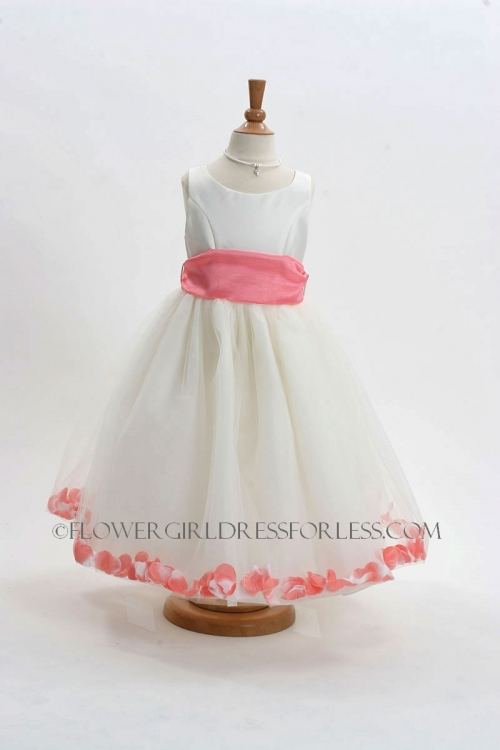 7d78d865ada MB 152ICO - Flower Girl Dress Style 152-Choice of White or Ivory Dress with  Coral Sash and Petals - Ivory Flower Girl Dresses - Flower Girl Dresses -  Flower ...