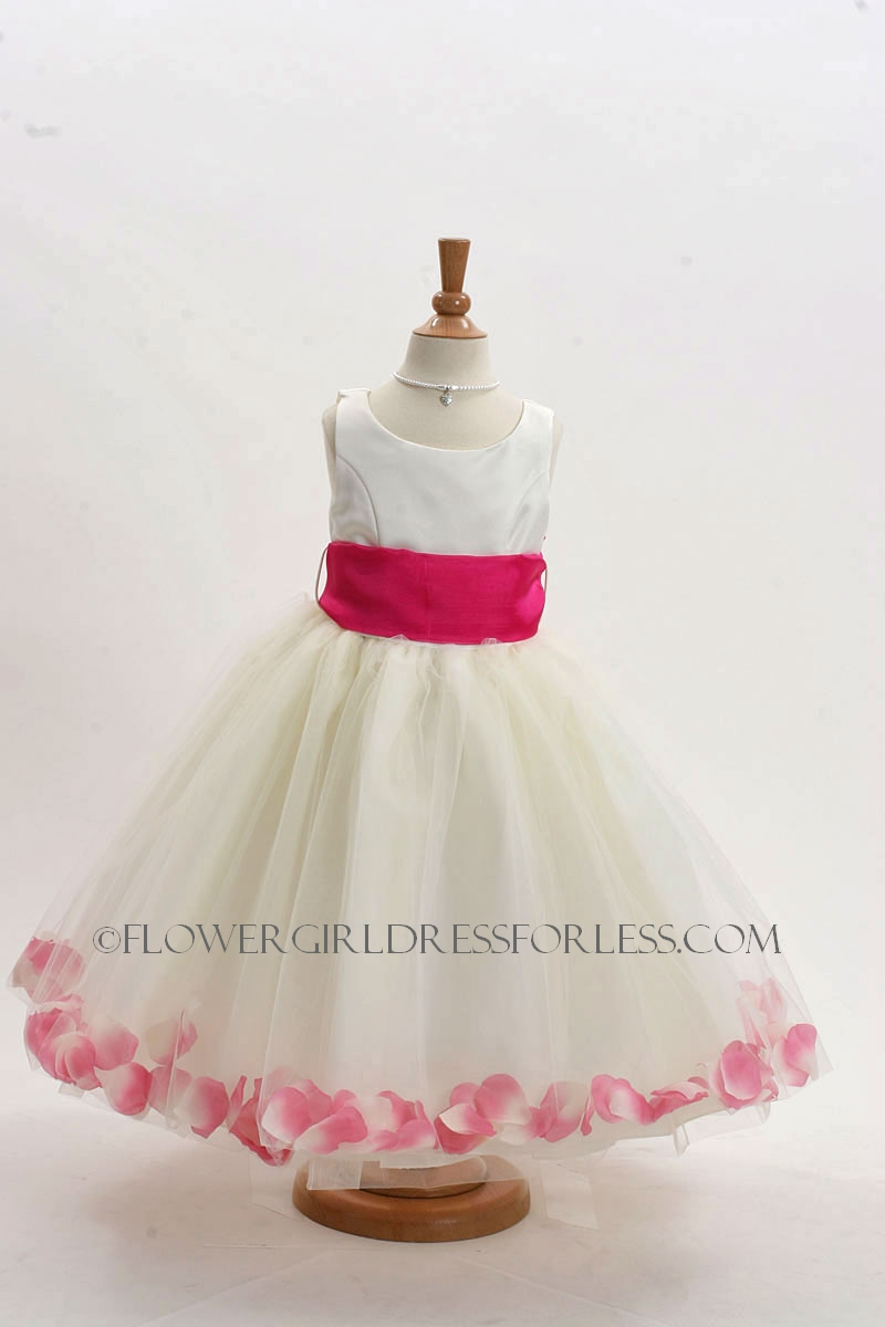 White Flower Girl Dresses With Hot Pink Sash 66