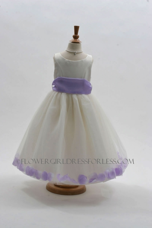 a0ca0564e08 MB 152IL - Flower Girl Dress Style 152-Choice of White or Ivory Dress with  Lilac Sash and Petals - Purple - Flower Girl Dresses - Flower Girl Dress  For Less
