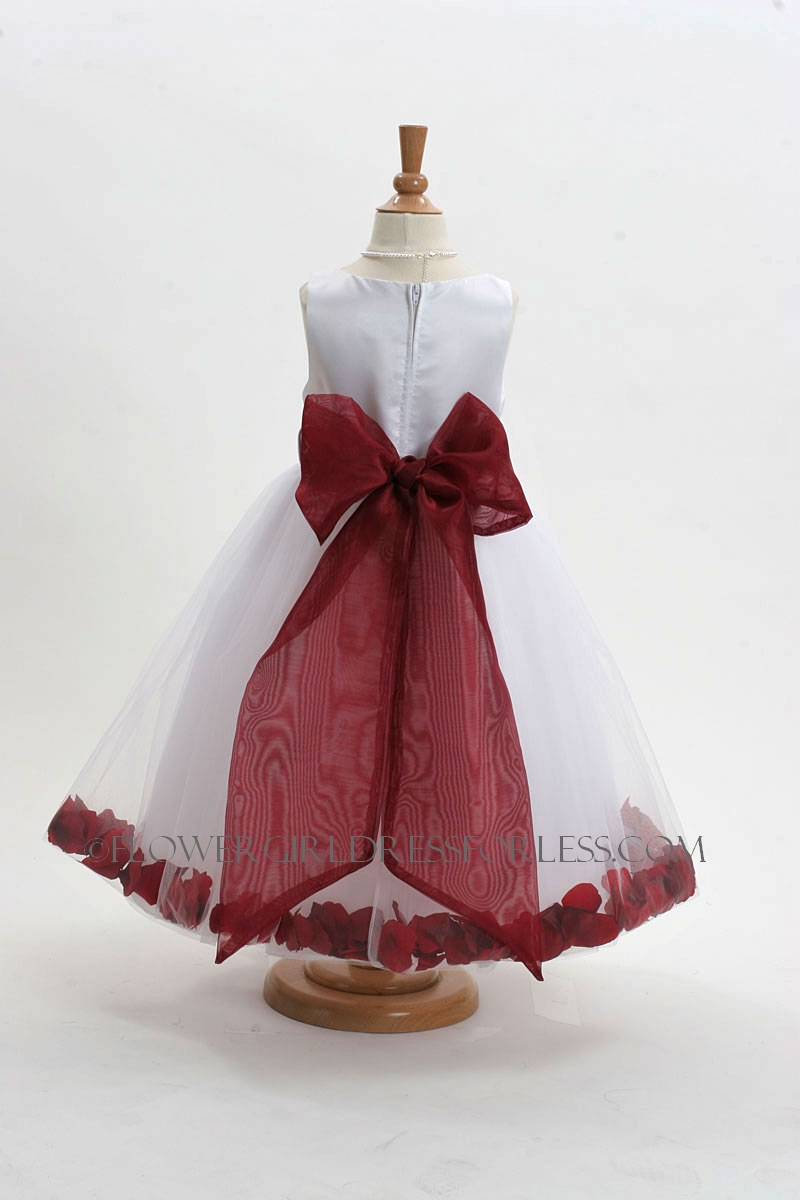 White Flower Girl Dresses With Burgundy Sash 34