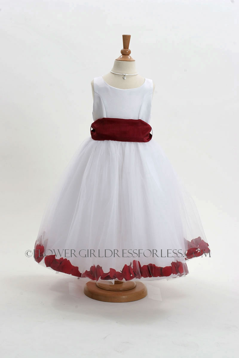 White Flower Girl Dresses With Burgundy Sash 63