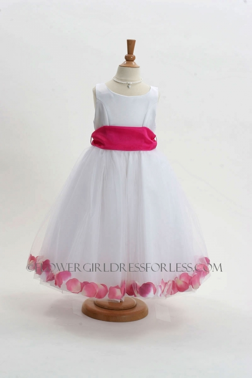 MB_152WHP - Flower Girl Dress Style 152-Choice of White or Ivory Dress with Hot Pink Sash and Petals - Infants and Toddler Dresses - Flower Girl Dresses ...