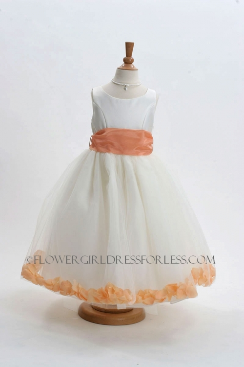 410364a8d88 MB 152WSP - Flower Girl Dress Style 152-Choice of White or Ivory Dress with  Soft Peach Sash and Petals - Create a Dress - Petal Dresses - Flower Girl  ...