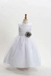 Silver grays flower girl dresses flower girl dress for less flower girl dress style 2021 white dress with 3 silver flowers mightylinksfo