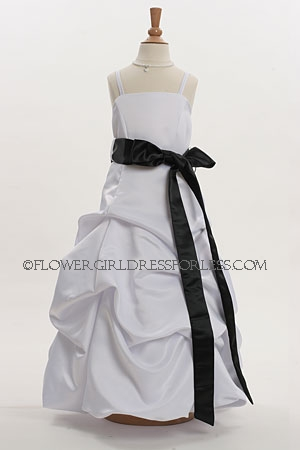 Enlarge - Flower Girl Dress Style 3288- White or Ivory with Black Sash