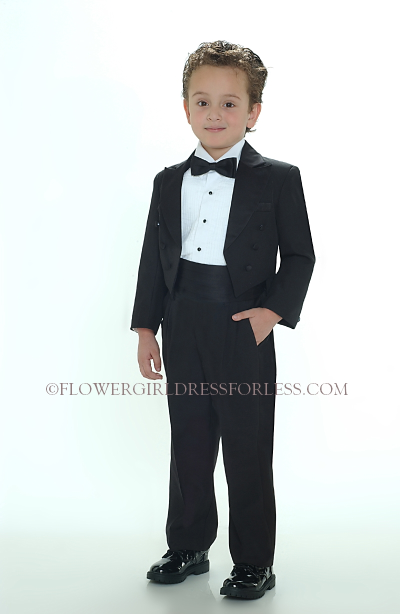 Boys tuxedo with tails black color flower girl dress for less