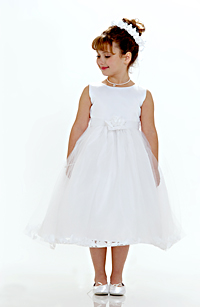 4529f7f14c8 Flower Girl Dress Style 5083- White Sleeveless Satin And Tulle Petal Dress  With White Petals