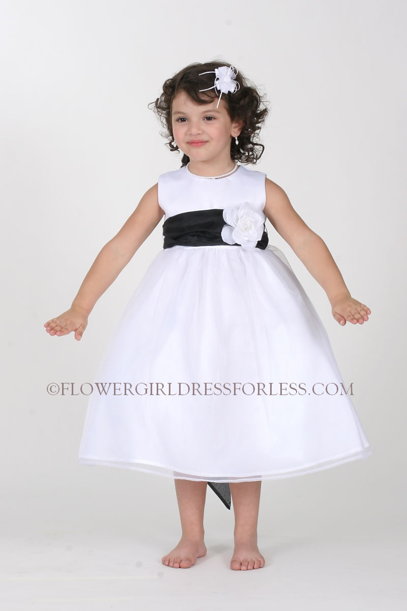 Tt5378 b 5378 choice of ivory or white dress with black sash and tt5378 b 5378 choice of ivory or white dress with black sash and choice of 28 flower colors black flower girl dresses flower girl dress for less mightylinksfo