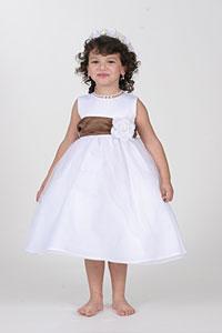 ee2cb7696fd Flower Girl Dress Style 5378-Choice of Ivory or White Dress w-CHOCOLATE Sash