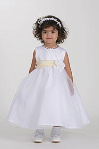 fabcc26b45b1 Flower Girl Dress Style 5378- Choice of Ivory or White Dress w-PALE YELLOW