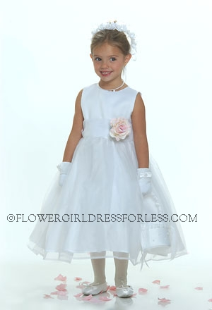 Click to Enlarge - Flower Girl Dress Style 5170- White or Ivory Classic Dress- Choice of 28 Flower Colors!