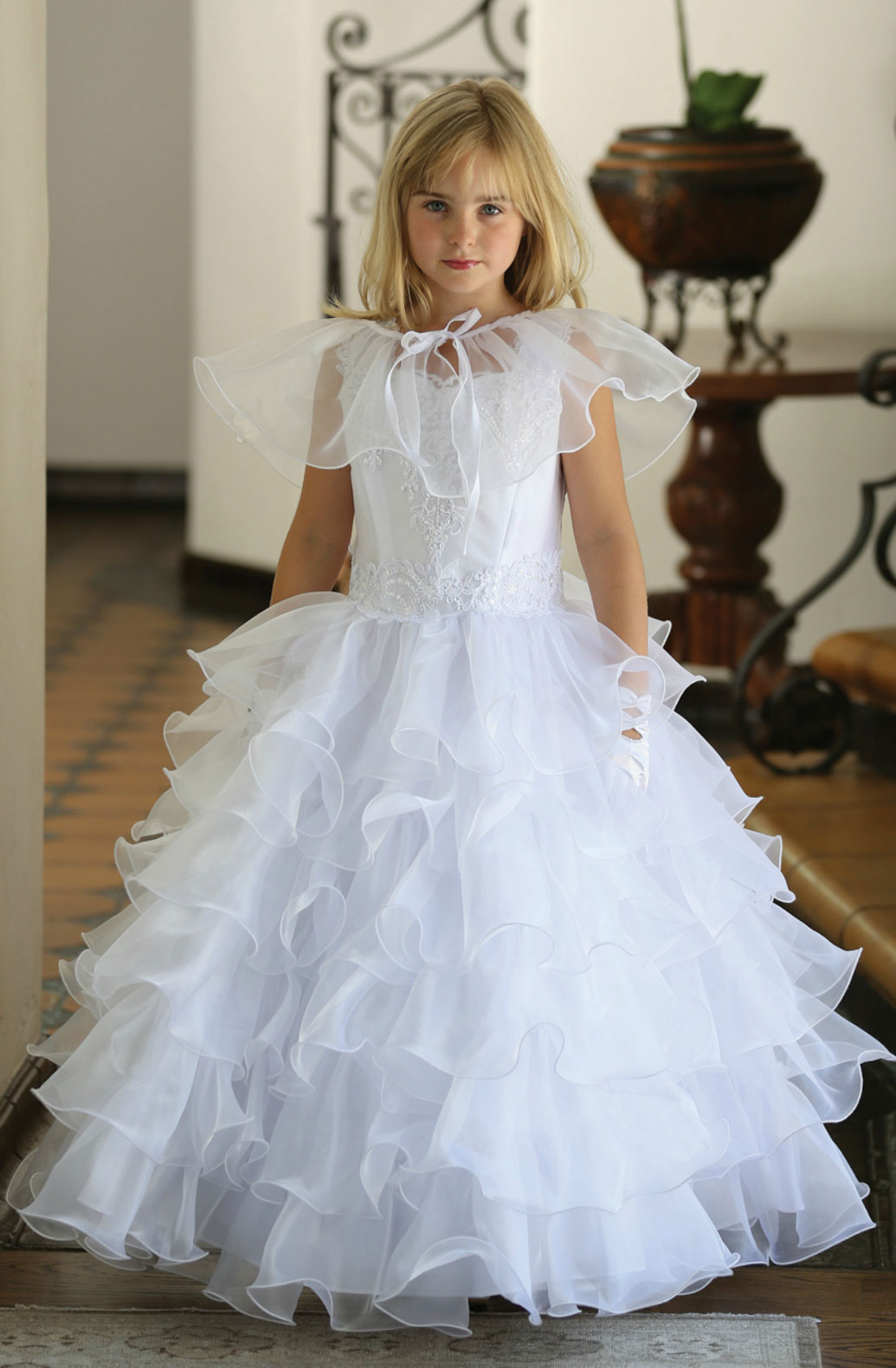 Ag Dr1710 Girls Dress Style Dr1710 White Satin Dress