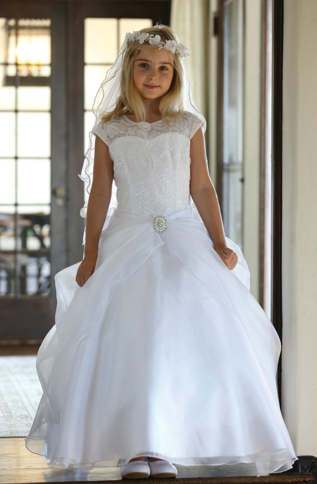 AG_DR1712 - Girls Dress Style DR1712 - WHITE Cap Sleeve Dress with ...