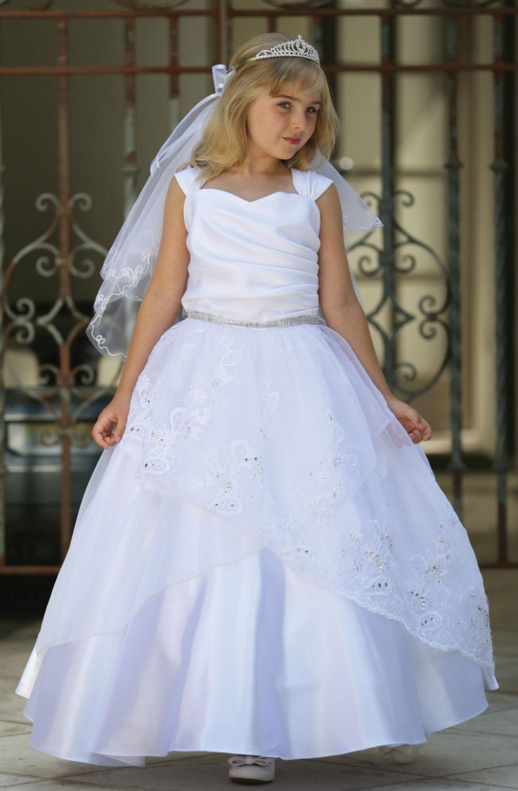 Ag Dr1718 Girls Dress Style Dr1718 White Cap Sleeve