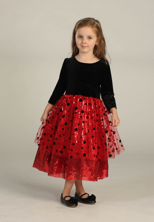 efd1b2ff4d5 AG DR3001 3002 - Flower Girl Dress Style DR3001 3002 - RED-BLACK Polka Dot  Velvet and Sequin Dress - Embroidered Dresses - Flower Girl Dresses - Flower  Girl ...