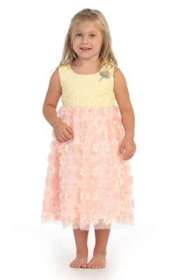 Yellows flower girl dresses flower girl dress for less girls dress style dr3037 sale yellow coralsleeveless dragonfly dress with floral appliques mightylinksfo