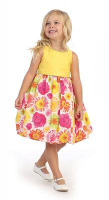 Yellows flower girl dresses flower girl dress for less girls dress style 3046 sale yellow multi sleeveless dress with floral print skirt mightylinksfo