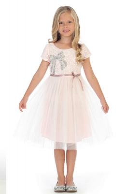 Rose flower girl dresses flower girl dress for less girls dress style dr3194 pink short sleeve dress with bow applique on bodice mightylinksfo