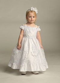 4f7610e8a2 Girls Dress Style DR378- WHITE Satin and Organza Dress with Our Lady of  Guadalupe and