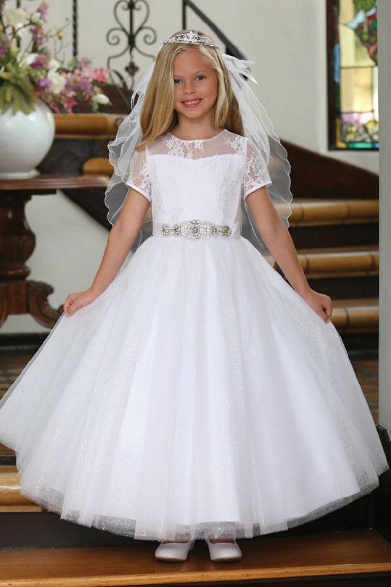 AG_DR5227COM - Girls Dress Style DR5227- White Short ...