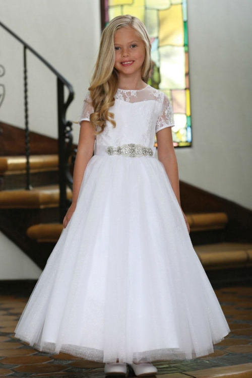 0005216694 AG DR5227 - Girls Dress Style DR5227- White Short Sleeved Illusion Lace and  Tulle Dress - Sizes 7-16 - Flower Girl Dresses - Flower Girl Dress For Less