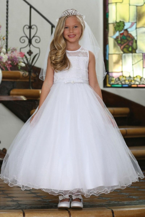 a75add1bb92 Girls Dress Style DR5233- White Illusion with Sparkle Skirt Dress with  Matching Bolero