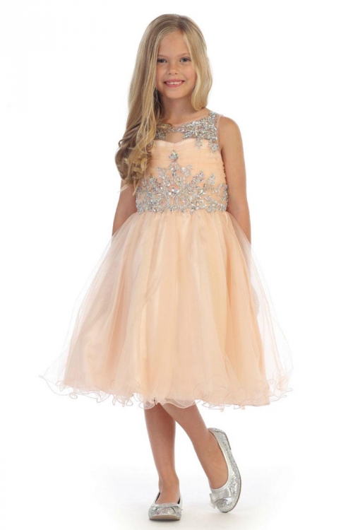 Girls Dress Style Dr5240 Gorgeous Beaded Tulle Short Dress In Choice Of Color