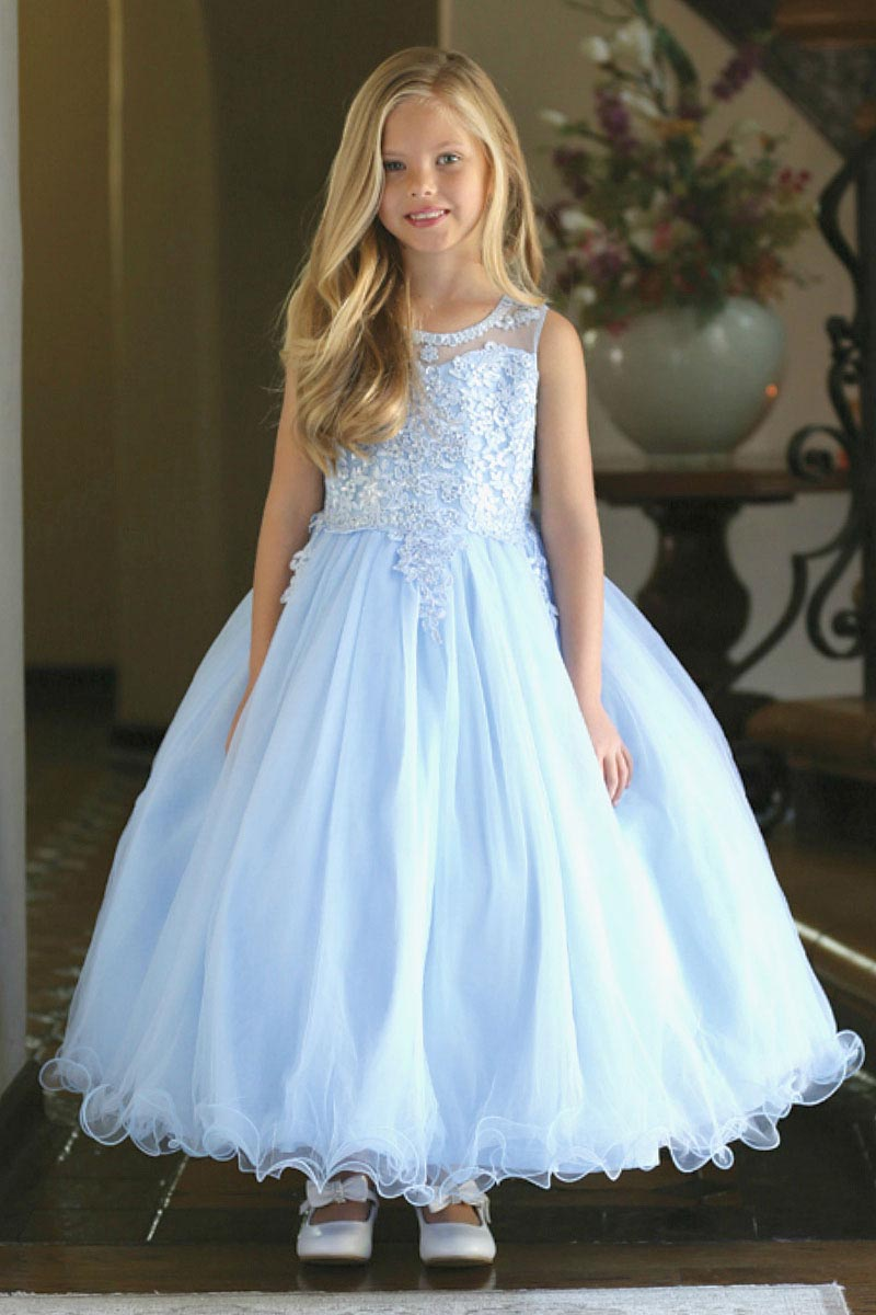 Ag Dr5241bu Girls Dress Style Dr5241 Satin And Tulle