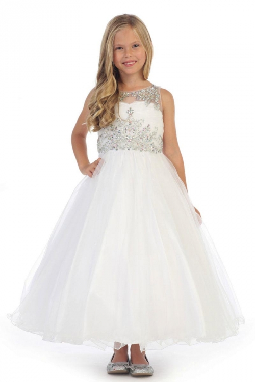 f8371585f89 AG DR5246W - Girls Dress Style DR5246- Gorgeous Beaded Tulle Long Dress in  Choice of Color - All First Communion Dresses - Flower Girl Dresses -  Flower Girl ...