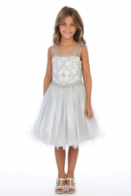 7e5245955ce Girls Dress Style DR5264 - SILVER Short Beaded Illusion Neckline Party Dress
