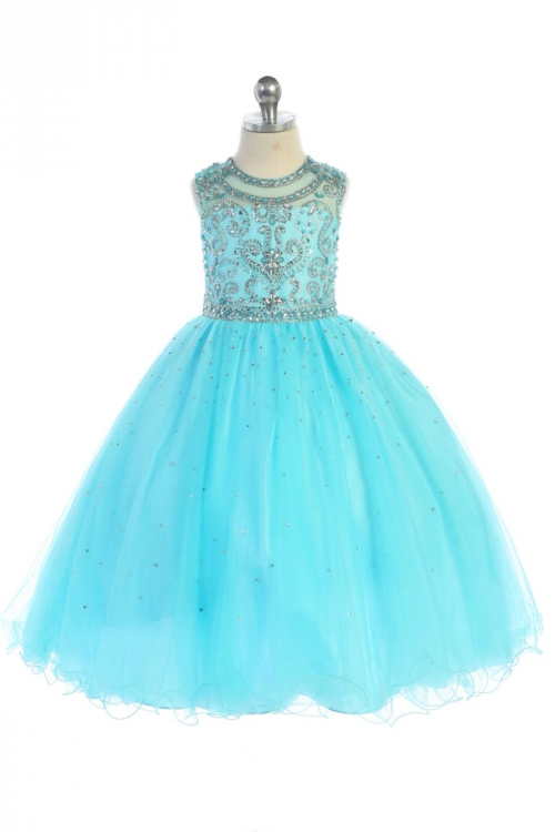 AG_DR5274AQ - Girls Dress Style DR5274 - AQUA Beaded Ball Gown with ...