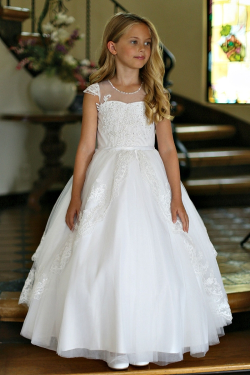 c636692c0cd AG DR5282 - Girls Dress Style DR5282- SALE WHITE Cap Sleeve Satin Dress  Embroidered Bodice and Sequin Skirt - All First Communion Dresses - Flower  Girl ...
