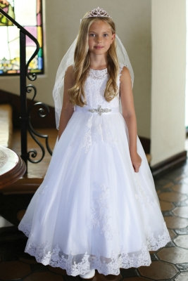 1e6bf764cd Girls Dress Style DR5302- WHITE Cap Sleeve Satin Dress with Embroidered  Bodice Sequin Skirt