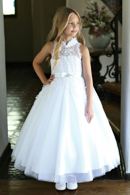 e4cb447af02 Girls Dress Style DR5304- WHITE Satin Dress with Embroidered Bodice and  Sequin Trimmed Skirt