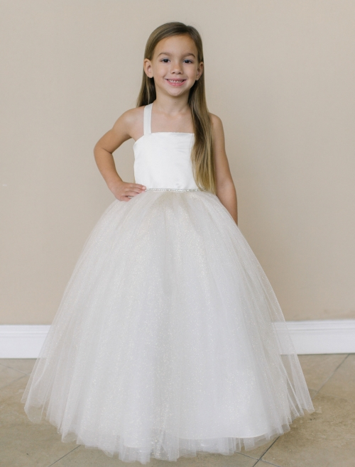 Flower Dress Style Fg102 Satin And Tulle With Sparkle Skirt Belt