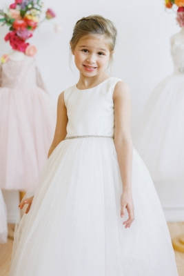 229571baeec Designer Amalee Girls Dress Style FG102B - Satin with Rhinestone Waist  Tulle Gown in Choice of