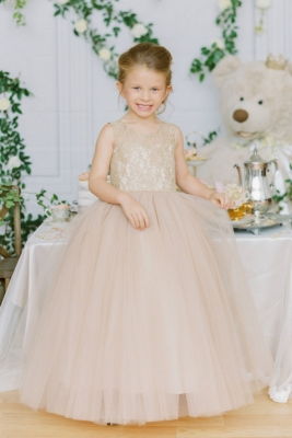 6701c71d93f Designer Amalee Girls Dress Style FG132-FLNR - Lace and Tulle Ball Gown in  Choice