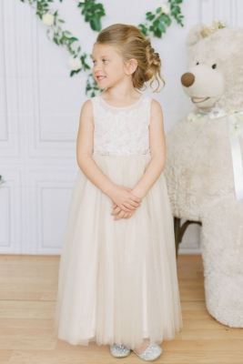 b39d4095bd0 Designer Amalee Girls Dress Style FG157 - IVORY Lace Bodice Dress with Choice  of Skirt Color