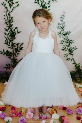 bc5d51b9350 Designer Amalee Girls Dress Style FG162 -OFF WHITE Sweetheart Neckline with  Criss Cross Back Gown