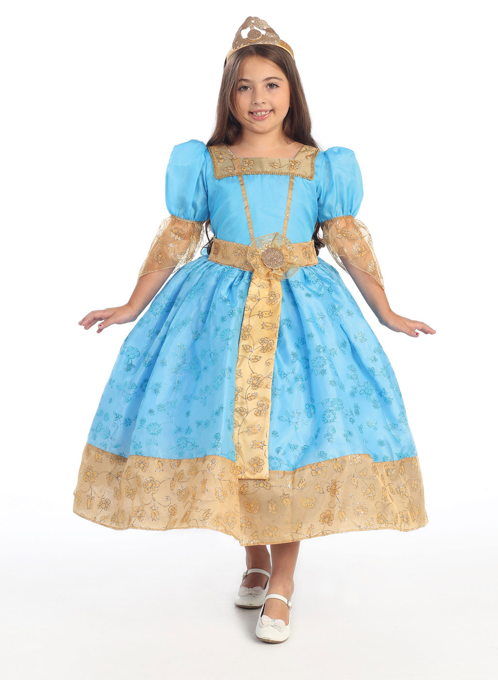 BK_029 - Girls Dress Up Costume Style 029- Light Blue and Gold ...