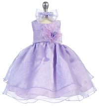 Girls Dress Style 574 - Lilac Dress With Choice Of 25 Sash And Flower