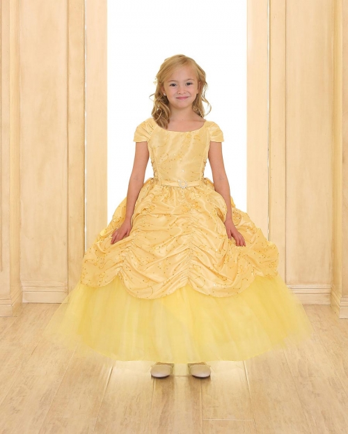 f5cd6a0f01cd CA D596Y - Girls Dress Style 596 - YELLOW Short Sleeve Satin Dress with  Sequin Detailing - Yellows - Flower Girl Dresses - Flower Girl Dress For  Less